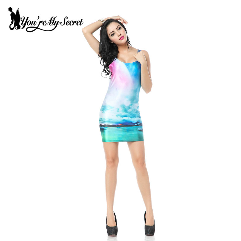 [Youre My Secre] Autumn Women Print Galaxy Dress Black Milk Vest Dress NEW MADE TO ORDER Sleeveless Sundress Wholesale Shirt
