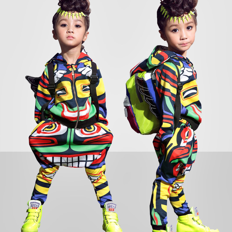 Kids Maya clothing set dance Uni Costumes Jamaica Totem kids Hip Hop harem pants & sweatshirt  suits Active twinset