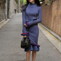 Temperament Thicker Slim Women Sweaters Dress 2017 Autumn New Fashion Long Sleeve Women Dress Cotton Korean