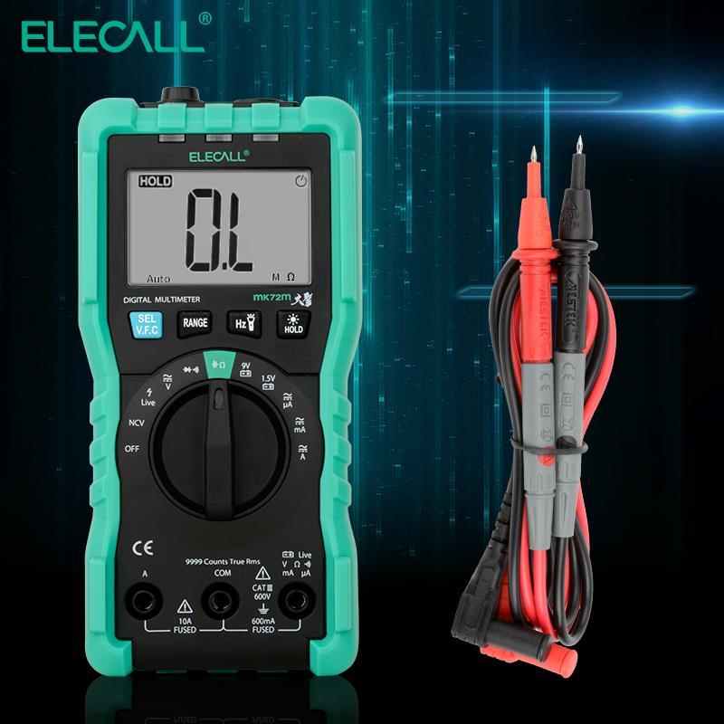 ELECALL MK72M mini multimetro digitale di prova del tester vero RMS multi-funzione di resistenza condensatore tester multimetro sonde cavo