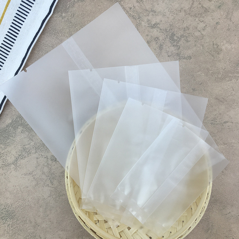 100pcs/Lot Jewelry Tea Translucent Frosted Flat Sealing Bag For Biscuit Cookies Candy Bread Baking Party Gift Packaging Bags P20