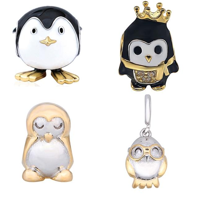 Горячие продаж 925 серебро Симпатичные животные Пингвин коллекция бисера Fit оригинальной прелести браслет Fine Jewelry делает женщин Подарки