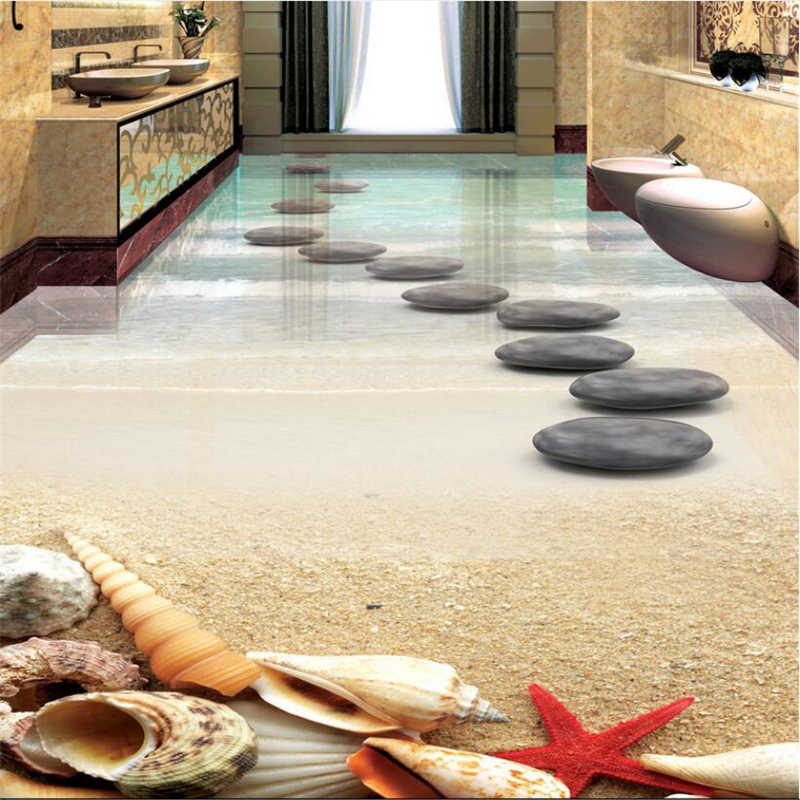 beibehang thickened wearable PVC floor painted floor affixed to the beach starfish shell stone bathroom 3D floor tiles