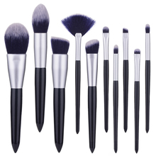цена на 10pcs/set Dark blue makeup brushes set for cosmetic foundation powder blush eyeshadow kabuki blending make up brush beauty tool