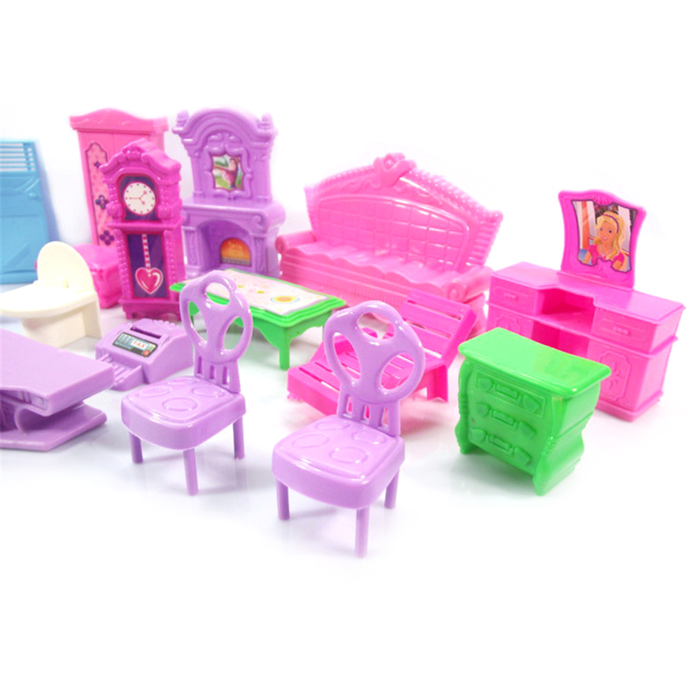 Hot Sale Pretend Play Toys Christmas Gift Plastic Furniture Miniature Rooms For Doll 22PCS/set 3D Dolls House Set Baby Kids-2