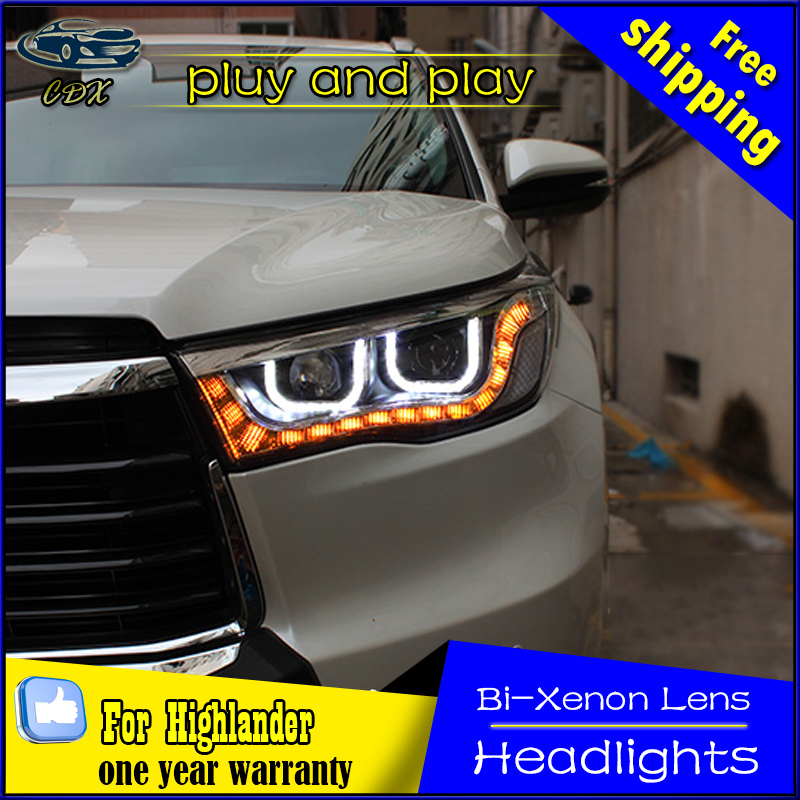 Car Styling Head Lamp for Toyota Highlander Headlights Kluger LED Headlight DRL Daytime Running Light Bi-Xenon HID Accessories car styling headlights for toyota rav4 led headlight 2013 2015 for rav4 head lamp led daytime running light q5 lens bi xenon hid