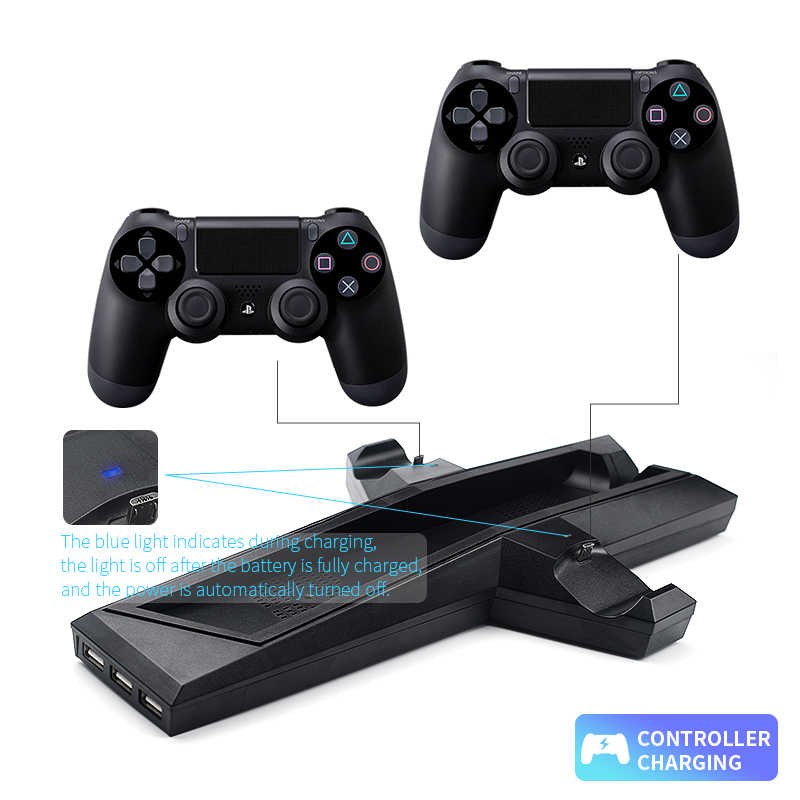 Охлаждающий вентилятор джойстик Зарядка для PS4/PS4 тонкие игры вертикальная подставка с двойным контроллером зарядная станция для sony Playstation 4