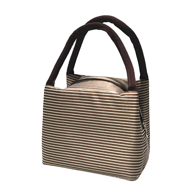 Fashion Striped Cooler Bag Women Portable Thermo Bags Travel Picnic Insulated Food Storage Accessories Supply Product Organizer