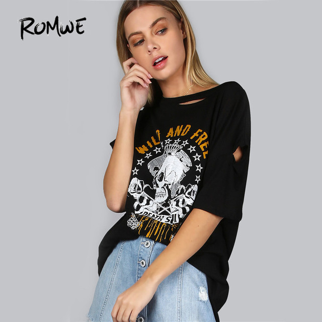 607e217294d6 ROMWE Distressed Skull Print T-Shirt Punk Style Tee Women Sexy Cut Out  Casual Tops