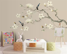 beibehang Custom silky wallpaper hand-painted 3D stereo metal relief butterfly magnolia TV background wall papers home decor