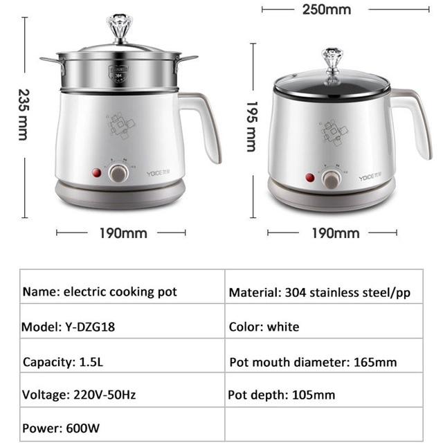Kbxstart 1.5L Multifunction Electric Cooking Pot Heating Pan Noodles Rice Cooker Hot Pot Food Multi Cooker Machine Steamer 220V 6