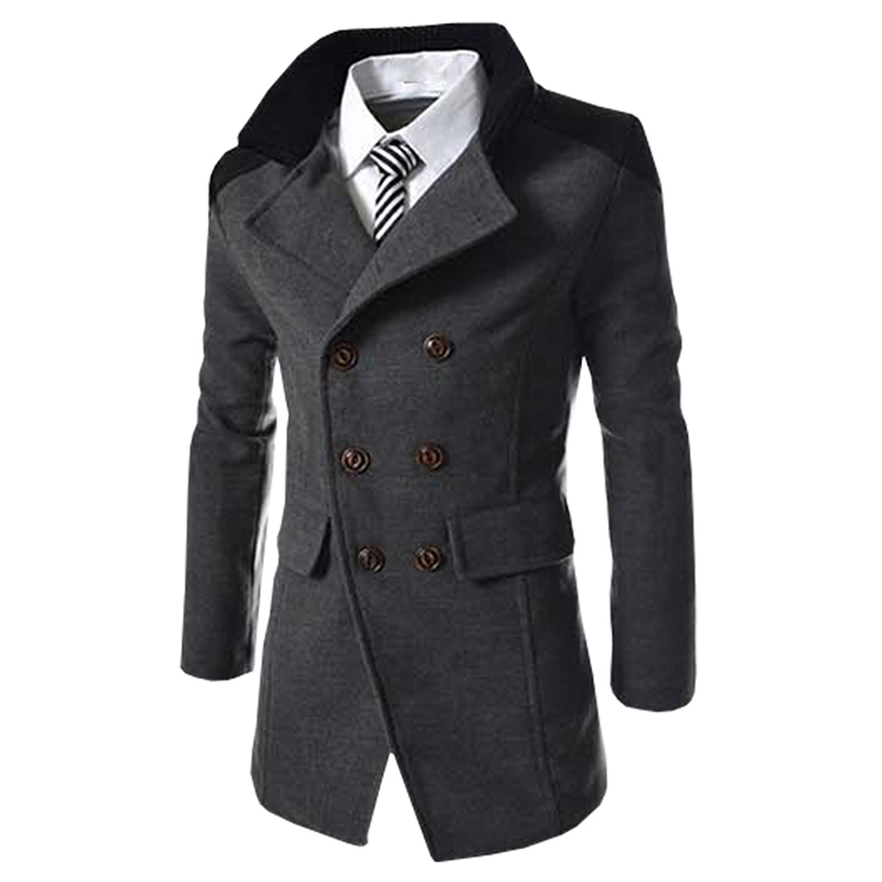 Hot Sale Autumn Long Wool Coat Men Fashion Turn-down Collar Wool Blend Double Breasted Pea Coat Jacket Men Brand Overcoats