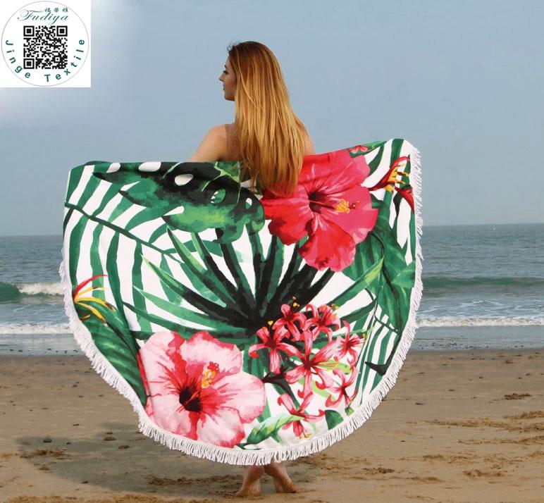 Mode berjemur putaran handuk pantai, Microfiber besar dicetak Yoga handuk dengan rumbai Serviette De Plage Fudiya lingkaran ...