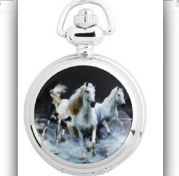 0   Fashionable Personality Three Horses Pocket Watch Small Ceramic Pocket Watch Cartoon Pocket Watch With Chain Spot