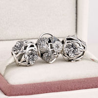 Fits Silver Charms Bracelet& Necklace 925 Sterling Silver Jewelry Charm Sets Love Flower Fashion Beads for Women & Men Jewelry