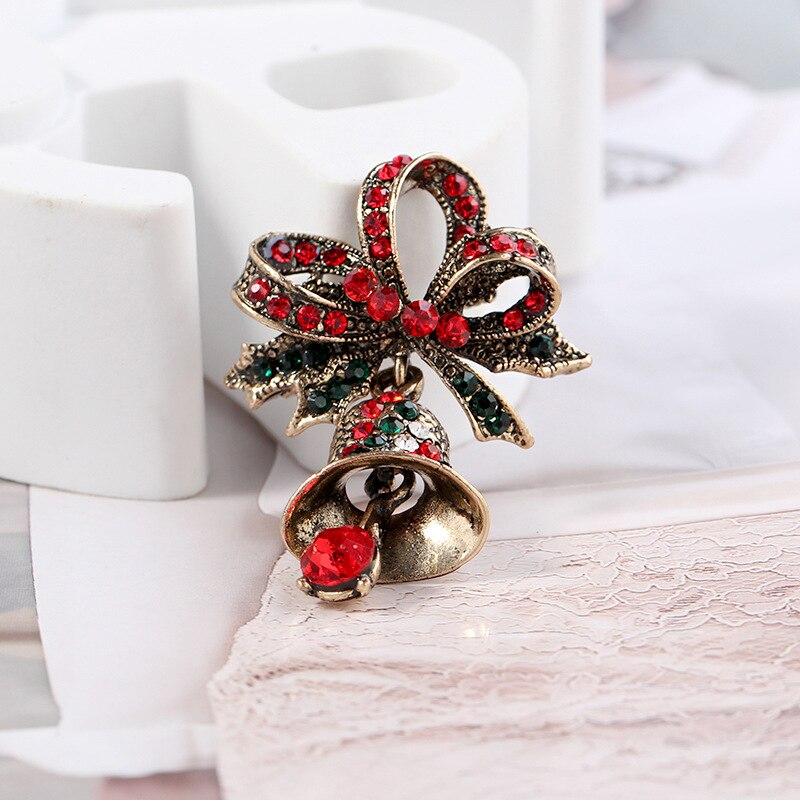 Fashion Rhinestone Bell Brooch Christmas Pin
