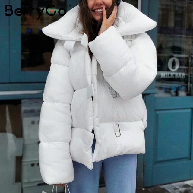 New Price BerryGo Turndown collar square buckle winter women coat parka Casual white bomber down jacket Winter warm thick outerwear 2018