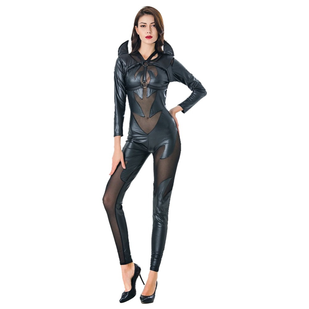 New Catsuit Black Evil Costume Jumpsuit Women Gothic Vampire Devil Angel Costume for Halloween Party Fancy Dress Easter Carnival