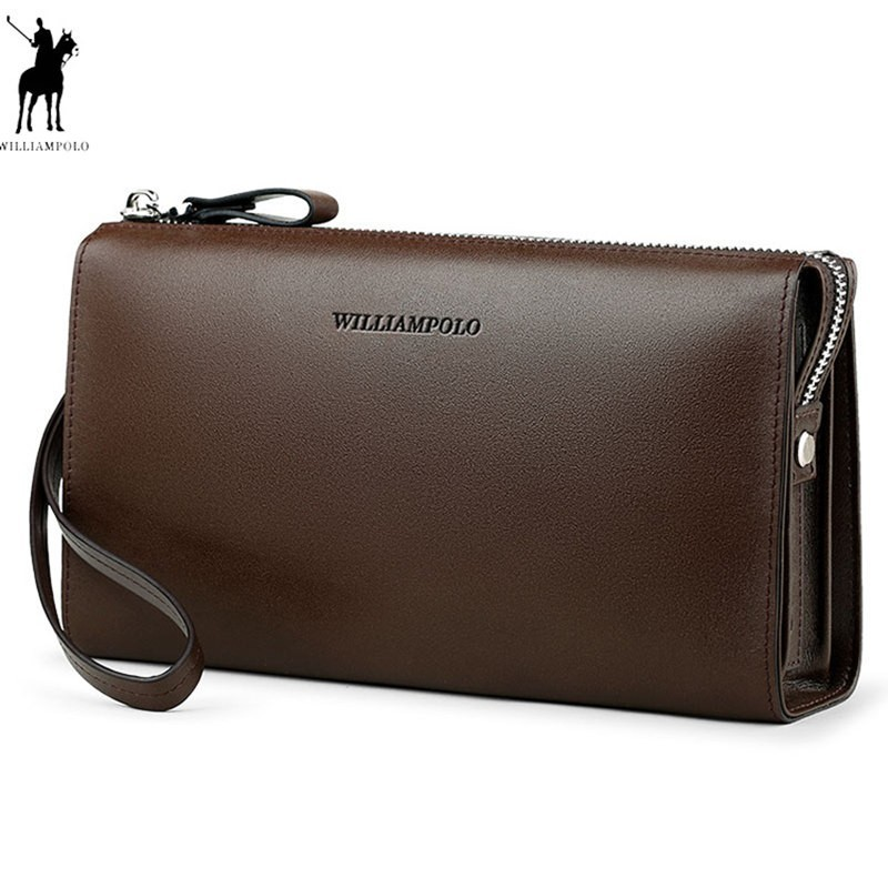 WilliamPOLO 2018 Fashion 100 Cow Leather Business Solid Zipper Long Mens Clutch Wallet With Cell Phone