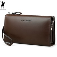WilliamPOLO Fashion 100% Cow Leather Business Solid Zipper Long Mens Clutch Wallet With Cell Phone Pocket PL197