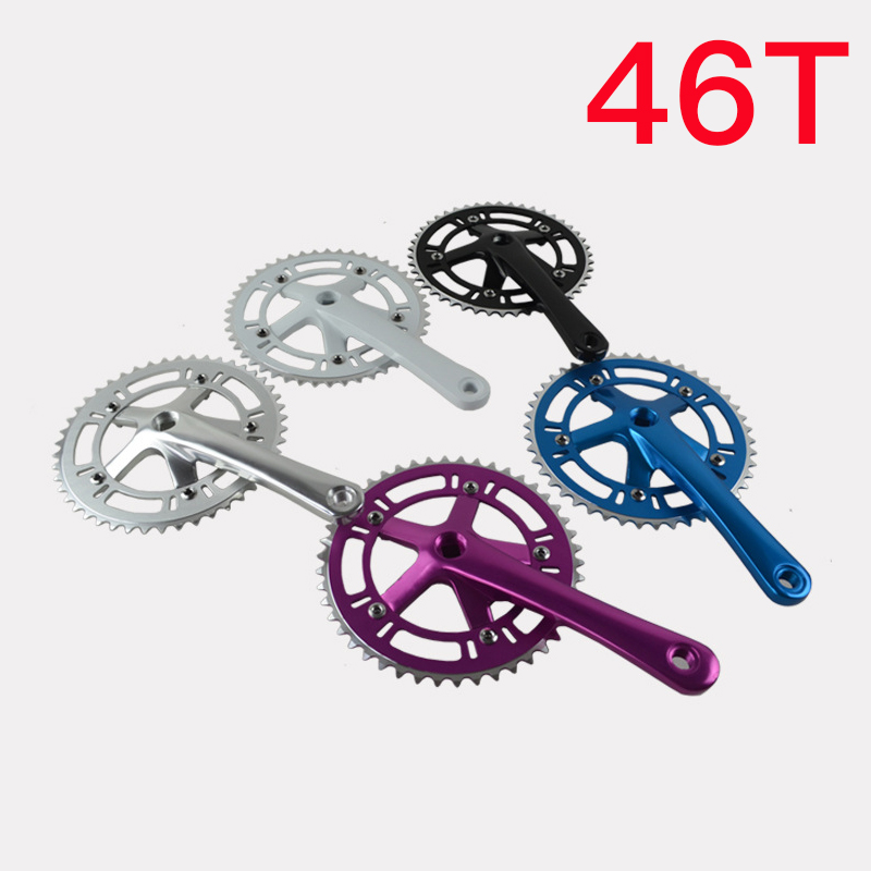 Fixed Gear Bicycle Bike Retro Chain Wheel Crank Suit 46T BCD130mm Crankset Hollow Chain Wheel Foldable Bicycle Accessories bicycle fixed gear single speed square hole chain wheel suit 42t 39t 46t 170mm crank bike cycling aluminum alloy crankset crank