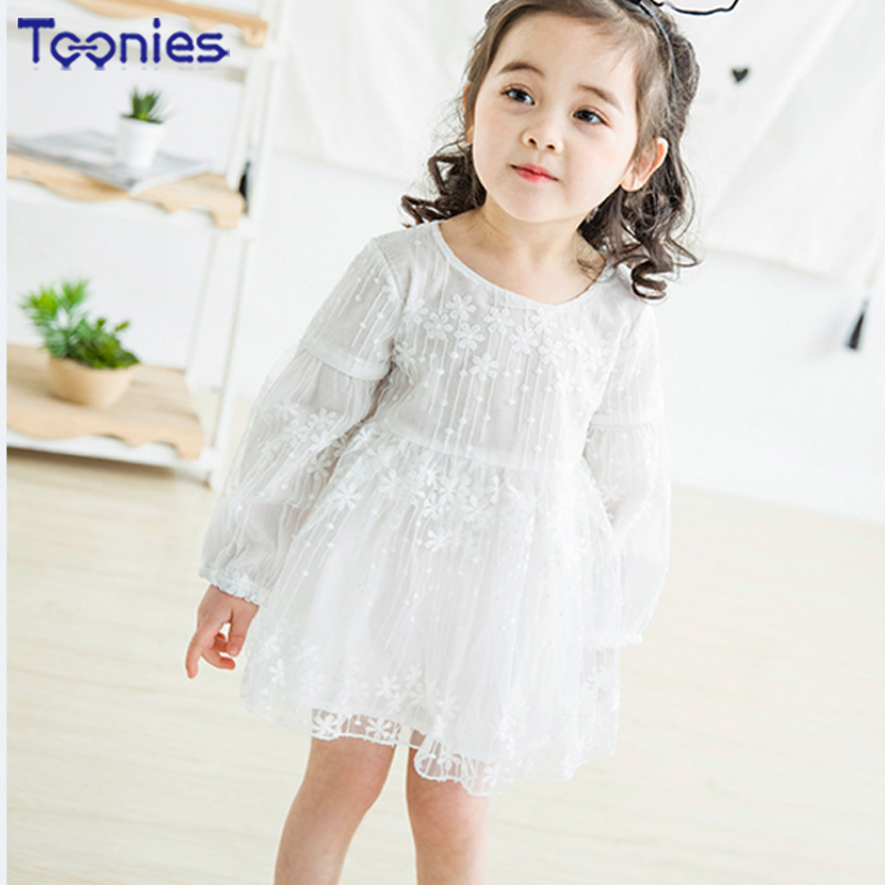 2018 Sweet Streetwear Meteor Shower Yarn Dress Embroidery Floral Summer Spring Elegant Beauty Princess Dress Baby Girls Clothes