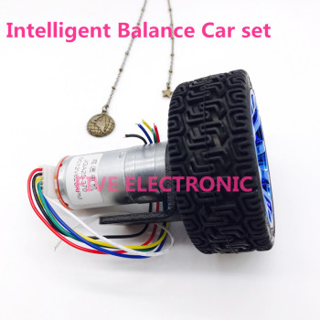 JGA25-370 DC GEAR MOTOR Balance Car set ,DC MOTOR+encoder+65mm tyre+coupler+support,use for balance vehicle smart car DIY model image