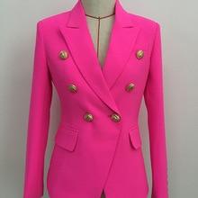 Стильный дизайн, Женский неоновый розовый зеленый синий оранжевый имбирный Блейзер, двубортный Блейзер на кнопках со львом, пиджак