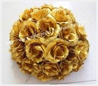 Hot sprzedaż 25 cm Średnica Silk Całowanie Rose Kwiaty Ball dla Wedding Party Decoration 23 Kolory opcja Darmowa wysyłka-złota
