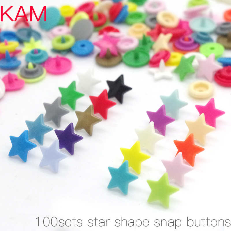 {10 Colors mixed 100sets } KAM Brand Star Shaped Plastic Snap Button Fastener buttons For Baby Diaper 10sets each