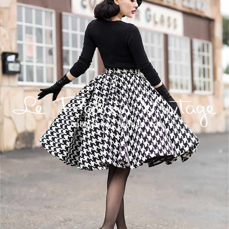 c6dd6dc007f 15- le palais vintage winter women 50s houndstooth swing pleated wool skirt  plus size saia
