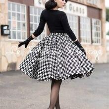 06864b36cc4 15- le palais vintage winter women 50s houndstooth swing pleated wool skirt  plus size saia rockabilly pinup faldas skirts