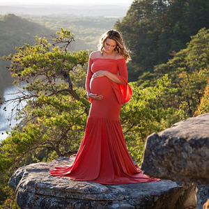 Image 3 - Shoulderless Maternity Dresses For Photo Shoot Maternity Photography Props Maxi Pregnancy Dresses For Pregnant Women Clothes