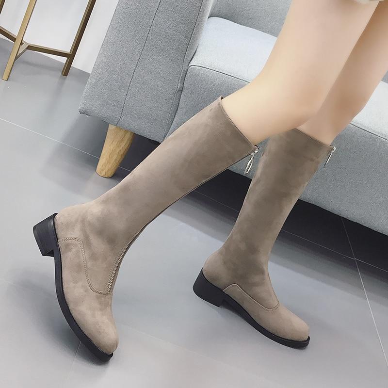 Rond 2018 Genou Femme Bottes Chaussures Talons Haute Black Shoes Shoes D'hiver Bout Parti Noir Automne De Nouveau Gdgydh Femmes Troupeau Carrés Zip Mode brown 64WnpqnOU