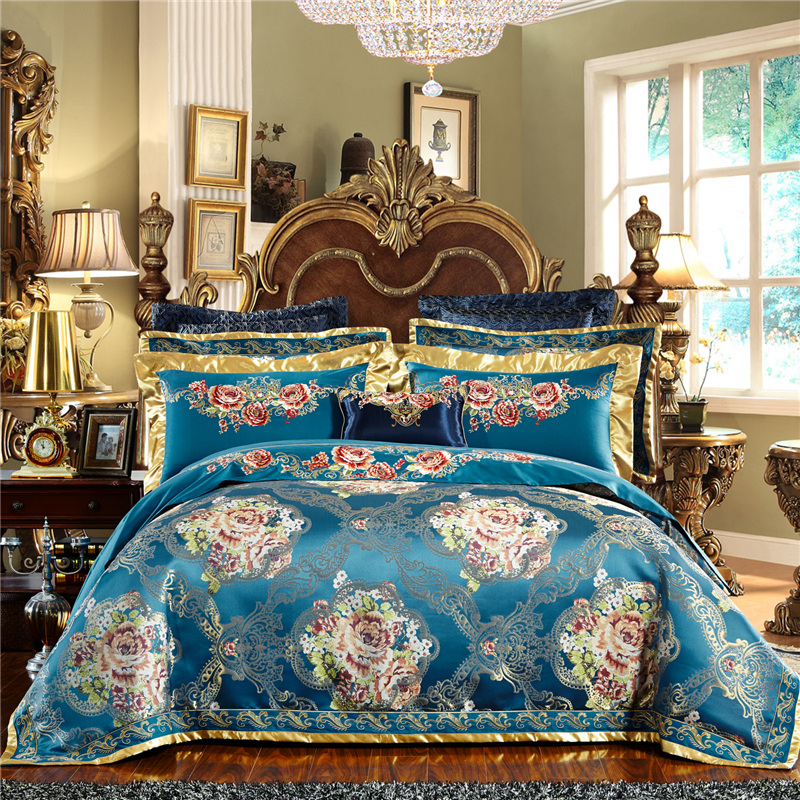Luxury Blue European Royal Wedding Bedding Set Silk Satin Cotton Jacquard Queen King Duvet Cover Bed Sheet Bed Linen Pillowcases