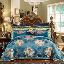 Luxury Blue European Royal Wedding Bedding Set Silk Satin cotton Jacquard Queen King Duvet Cover Bed sheet Bed Linen Pillowcases bed linen set leticia collection estetica fabric of satin jacquard production of ecotex russian companies