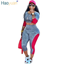 HAOYUAN Casual Tracksuit Women Clothing Two Piece Set Bodycon Tops and Pants Suits Fall Fashion Color Block Sexy Matching Sets