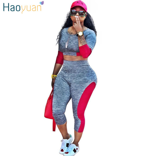 HAOYUAN Casual Tracksuit Women Clothing Two Piece Set Bodycon Tops and Pants  Suits Fall Fashion Color Block Sexy Matching Sets 45fb61c79577