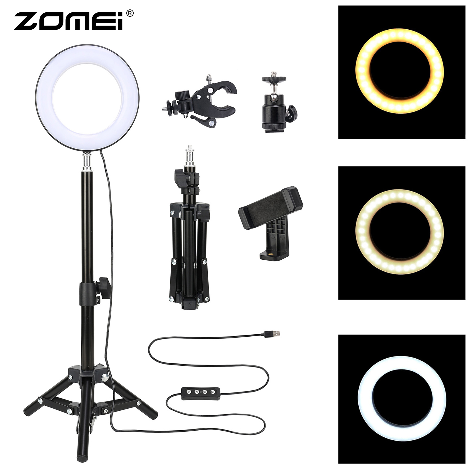 ZOMEI 6 Photography Lighting Dimmable LED Selfie Light Ring Light Youtube Live Video Makeup Photo Studio Light with USB Plug