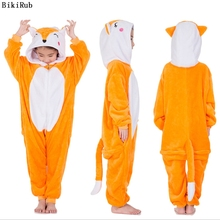 BIKIRUB Kigurumi Children Pajama Winter Hooded Sleepwear Boys Girl Pajama Set Cute Fox Animal Cartoon Kids Pyjama Flannel Pijama
