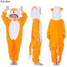 BIKIRUB Kigurumi Kinder Pyjama Winter Mit Kapuze Nachtwäsche Jungen Mädchen Pyjama Set Nette Fuchs Tier Cartoon Kinder Pyjama Flanell Pijama