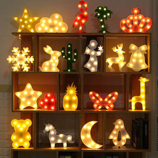 Led Light Home Decor Table Wall Display Night Lamp Flamingo Star Moon Marquee Unicorn