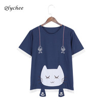 Qlychee Cute Cartoon Cat Printing T Shirt Women's Clothing Short Sleeve O Neck Summer Casual Ladies Top Tees Shirt