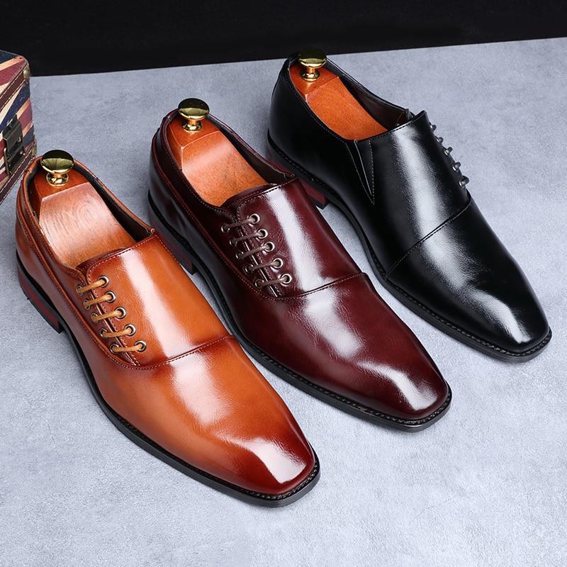 Yomior New Spring Summer Men's Dress Shoes Japanese Formal Business Oxfords Vintage Men Elegant Shoes Party Wedding Shoe Black 4