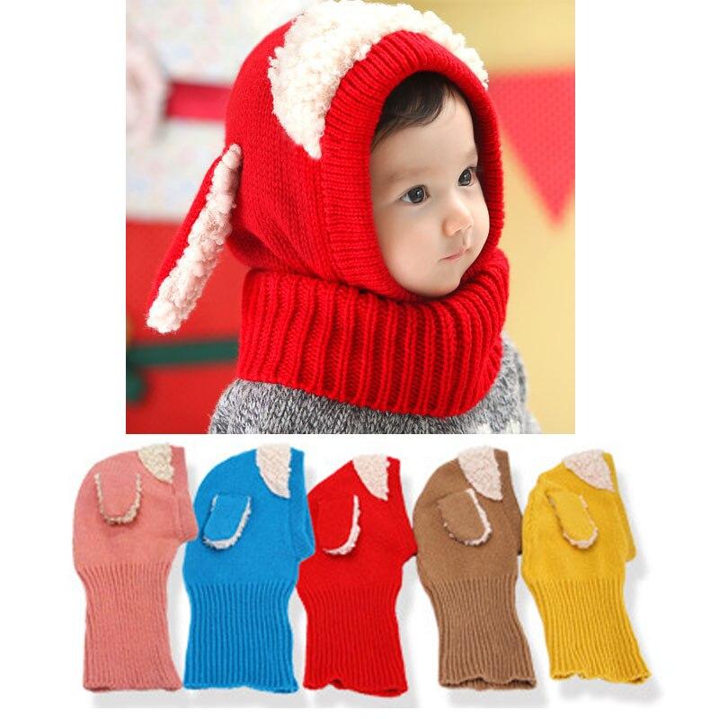 Baby Winter Hut 1 Stück Schal Hut Nette Kinder Mädchen Jungen Winter Warme Kapuze Ärmel Cap Mit Hund Ohr Häkelarbeit-baby-kostüm Motorhaube Enfant