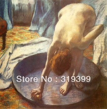 100% handmade Oil Painting Reproduction on Linen Canvas,The Tub 1 by edgar degas ,Free DHL FAST Shipping,100% handmade