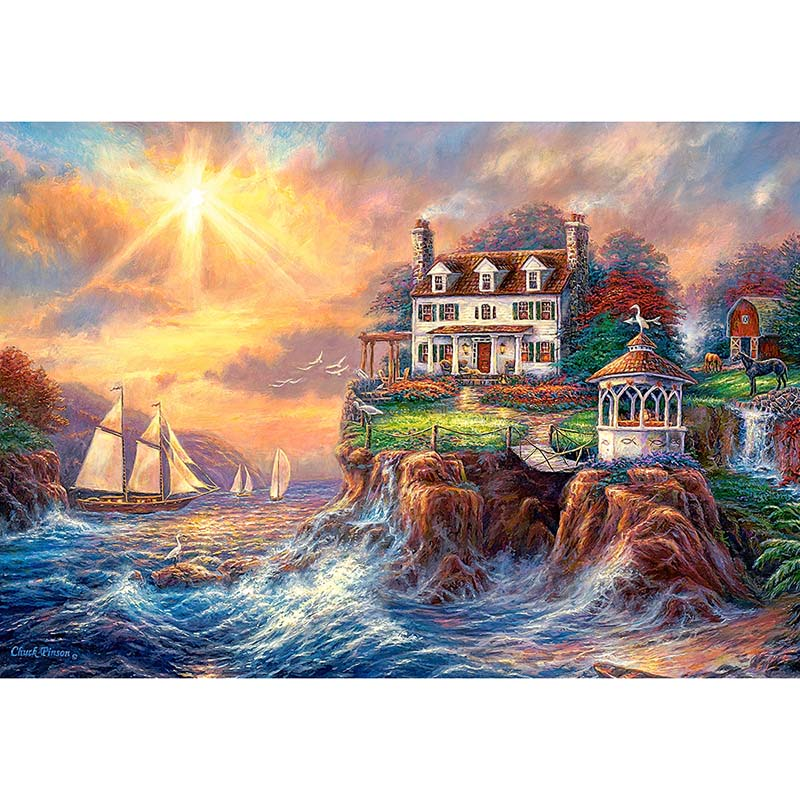 Full square diamond embroidery Sunset river view diamond mosaic full square painting stitch crystal diamond painting