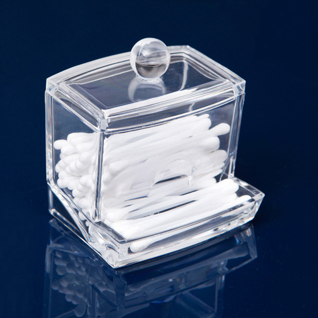 Beautiful Home Use Creative Clear Acrylic Q Tip Storage Holder Box Transparent Cotton  Swabs Stick Cosmetic
