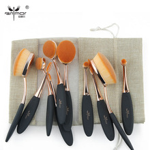 Anmor 10 pcs Oval Makeup Brush Set Hot Sale Makeup Brushes Professional Foundation Powder Brush Kit with Bag