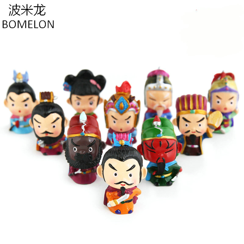 11PCS/Lot Cute Three kingdoms Mini Toy Figures Anime Resin Doll Brinquedos Guan Yu/Zhuge Original Chinese Crafts Christmas Gift brass copper famous three kingdoms guan ping zhou cang guan gong warrior god set
